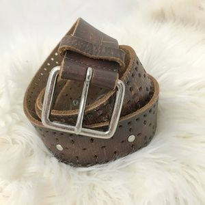 Boho brown leather belt silver studs perforated